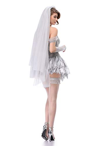 Moon Market Women Zombie Ghost Dead Bride Halloween Costume Bridal Mini Skirt Outfit (XL) Vampire hauntng Beauty Queen spilit Victorian Wedding Horror Skelton Festival Groom Skirt Outfit by Moon Market (Image #1)