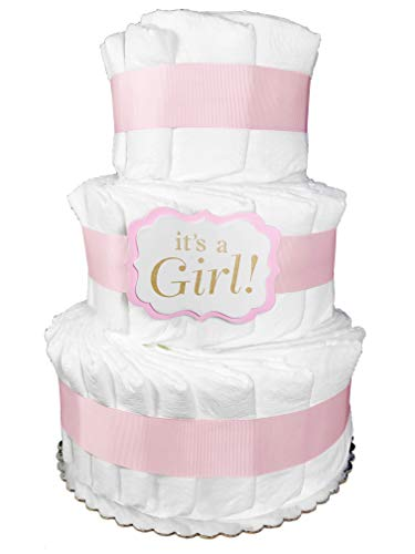 Decorate it Yourself Diaper Cake for a Girl - Plain Baby Shower Centerpiece - Pink from Sunshine Gift Baskets