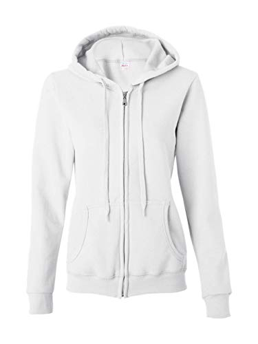 Gildan Women's Blend Full Zip Hooded Pouch Pocket Sweatshirt, White, Large
