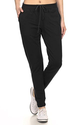 Leggings-Depot-Womens-Ultra-Soft-French-Terry-Cotton-Blend-Drawstring-Twill-Jogger-Cotton-Pants
