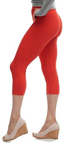 LMB Lush Moda Extra Soft Capri Leggings - Variety of Colors - One Size - Red