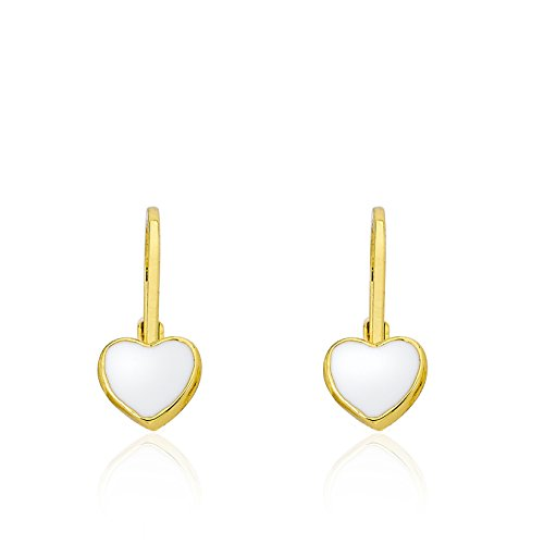 Little Miss Twin Stars Kids Earrings - 14k Gold Plated White Enamel Heart Leverback Earrings - Hypoallergenic and Nickel Free For Sensitive Ears