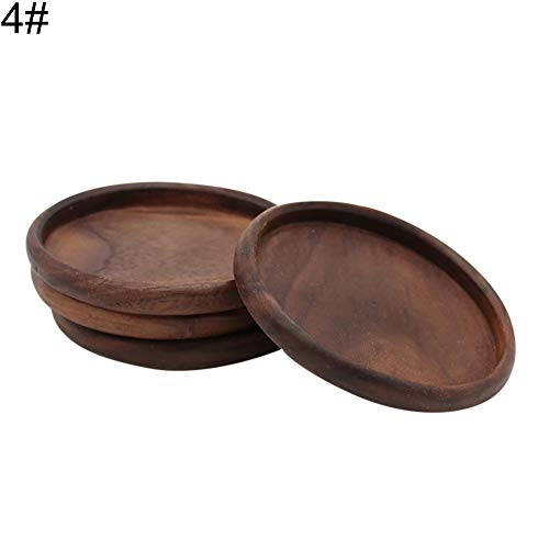 (Maserfaliw ?Cup Mat Round Square Cup Coaster Black Walnut Wood Insulation Dining Table Mug Mat Pad - 4#, Essential for Home Life, Can Be Used As)