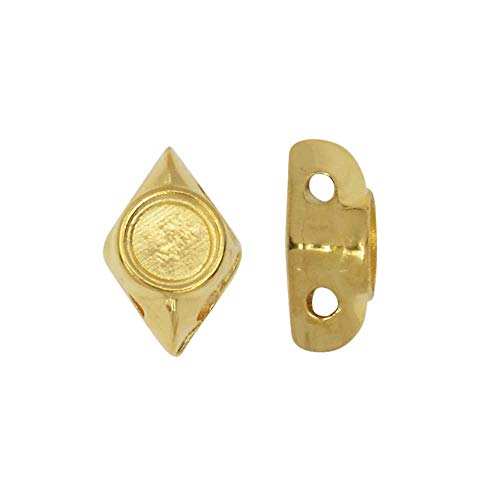 Cymbal Bead Substitute for GemDuo Beads, Areti, 2-Hole Diamond Shaped 7.5x5mm, 12 Pieces, 24K Gold Plated