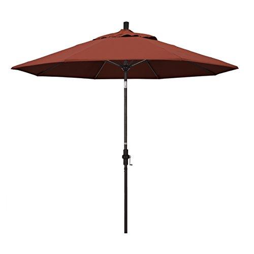 California Umbrella 9' Round Aluminum Pole Fiberglass Rib Market Umbrella, Crank Lift, Collar Tilt, Bronze Pole, Sunbrella Terracotta (Collar Patio Umbrella Tilt)