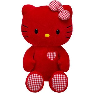 Build a Bear LOVE Hello Kitty Red with Gingham Valentine Heart Print Large 18 in. Stuffed Plush Sanrio Toy (Hello Kitty Build A Bear)