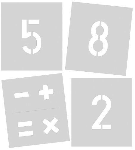 Signierschablone 100 mm Symbolgröße, Zahlen 0 - 9, Sonderzeichen %, +, =, -, x, gesamt 11 Schablonen