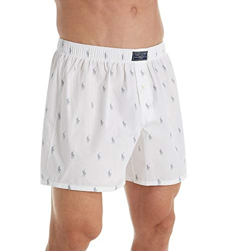 (Polo Ralph Lauren Printed Polo Player 100% Cotton Boxer (R382HR) M/White/Museum Grey)
