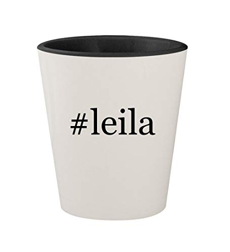 #leila - Ceramic Hashtag White Outer & Black Inner 1.5oz Sho
