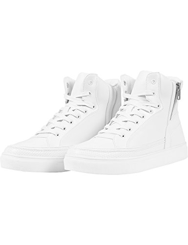 Urban Classics Zipper High Top Shoe, Unisex-Erwachsene Hohe Sneakers, Weiß (white 220), 42 EU