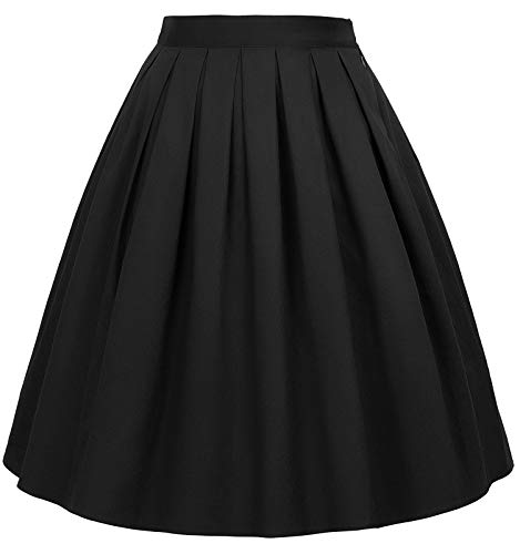 GRACE KARIN Women Vintage Pleated A-line Midi Skirts (Multi-Colored)