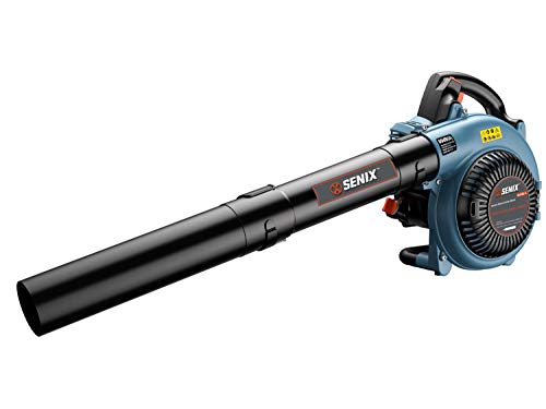 SENIX BL4QL-L 26.5cc 4 Stroke Gas Powered Leaf Blower with Auto-Choke Release, Blue For Sale