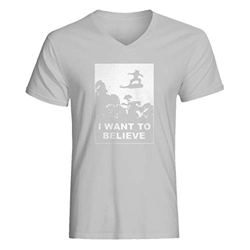 Indica Plateau Vneck I Want to Believe Nimbus Fighter Large Heather Grey T-Shirt -