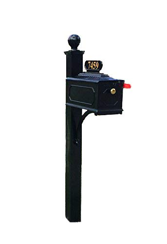 (Addresses of Distinction Williamsburg Estate Mailbox & Post System - Black Rust Resistant Aluminum Mailbox - Includes Address Plate, Numbers, Mounting Hardware, Ball Finial - (Contemporary Post))