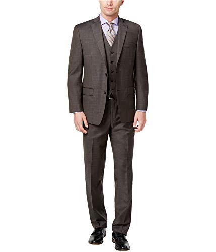 (Michael Kors Mens Stepwave Two Button Suit, Brown, 40 Short / 33W x UnfinishedL)