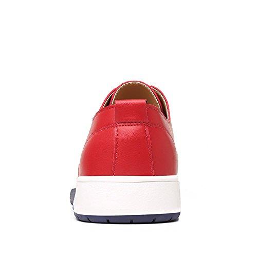 Zapatos Boda Cuero Cordones con 38 Hombre 48 Vestir de Informal Derby Negocios Calzado Brogue Respirable Oxford LILY999 Rojo 1pwAdA