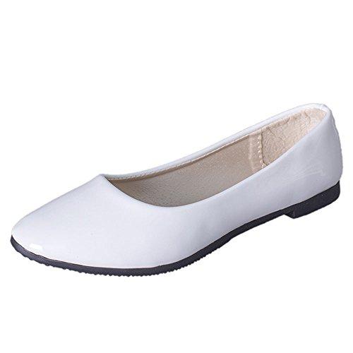 Toe Sur Blanc Femmes Derbies Flat Ballerines Cuir Chaussures Pointu chaussures Casual Slip En Mocassins Plates HIIxzfwU6q
