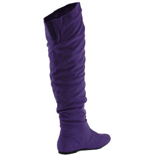 DailyShoes Damenmode-Hi Over-the-Knee Oberschenkel Hohe flache Slouchly Welle Low Heel Stiefel Lila SV