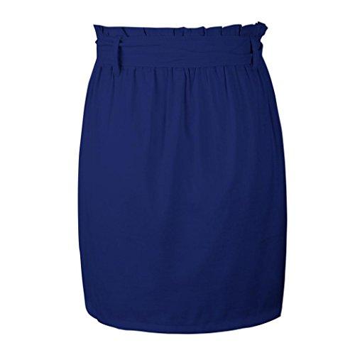 Coton Cinq Pure Couleur Poches Marine Taille avec Sixcup Mini Haute lastique Jupe Lin qv5pffIw