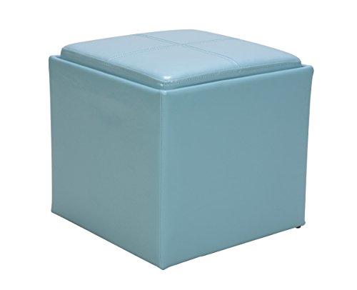Homelegance 4723BL Ladd Storage Ottoman with Stool, Bi-Cast Vinyl, Blue