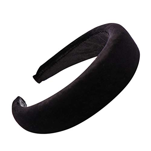 QueenMM Solid Fashion Hairband Women's Girls' Sponge Velvet Candy Color Sweet Headband Hair Head Hoop Black ()
