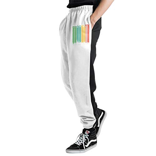Mens Vintage Brooklyn New York Skyline Cityscape Jogger Sweatpants, Drawstring Sports Pants for Mens White -