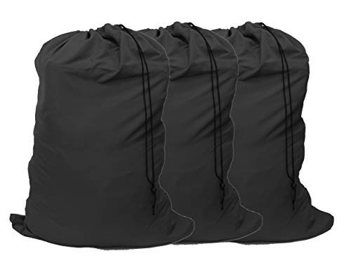"""YETHAN Extra Large Laundry Bag 3 Pack, Black, Travel Laundry Bags with Drawstring Closure, 30""""x40"""", for College, Dorm and Apartment dwellers."""