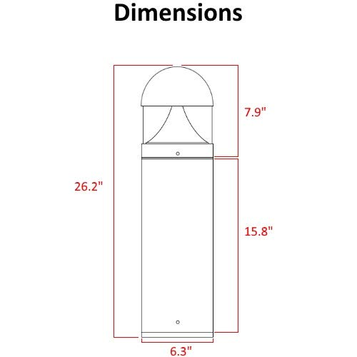 LED Grey Bollard Landscape Lights 26'' 10W 3000K 120-277V Commercial/Residential Lighting Fixture for Garden, Pathway, Driveway. Rated IP65 Suitable for Wet Locations, ETL Listed by harrrrd (Image #1)