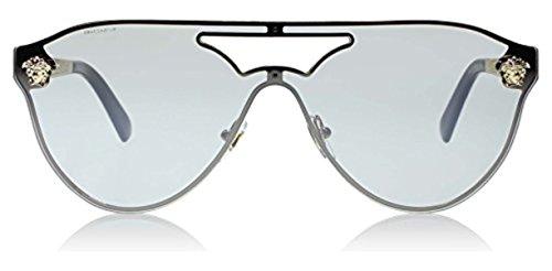 Versace Women's VE2161 Sunglasses Gold / Light Grey Mirror Silver 42mm & Cleaning Kit - Versace Sunglasses Ve2161