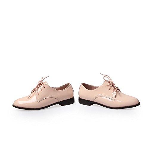 Amoonyfashion Womens Ronde-teen Gesloten-teen Lage Hakken Pumps-schoenen En Gepolijst Lightpink