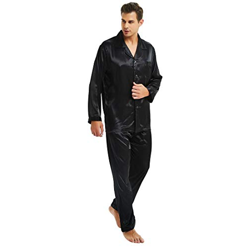 Mens Silk Satin Pajamas Set Sleepwear Loungewear Black - Silk Black Pajamas