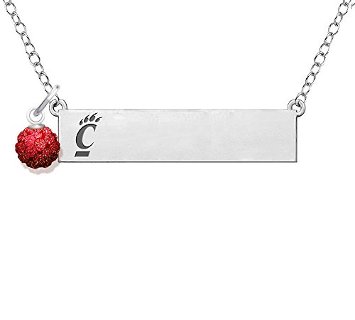 (University of Cincinnati Bearcats Bar Necklace with Crystal Ball Accent)