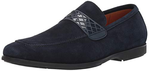 STACY ADAMS Men's Crispin Moc-Toe Slip-On Loafer, Navy Suede 15 M US