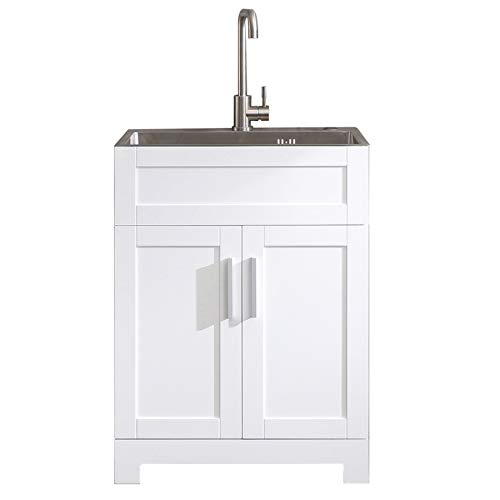 "24"" Laundry Utility Cabinet White with Heavy Duty Stainless Steel Faucet and Drainage Sink Vanity"