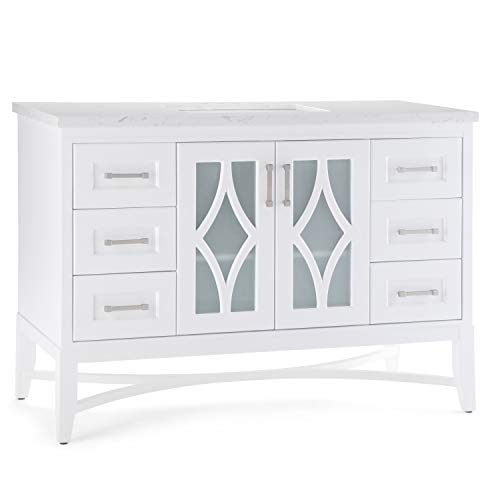 Simpli Home AXCVBRLW-48 Bristol 48 inch Contemporary Bath Vanity in White with Carrara White Engineered Marble Extra Thick Top ()