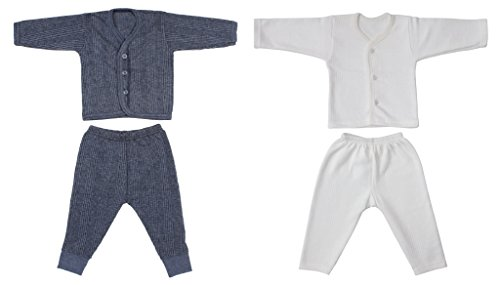 Littly Front Open Kids Thermal Top & Pyjama Set for Baby Boys & Baby Girls, Pack of 2 (1 White, 1 Dark Color)