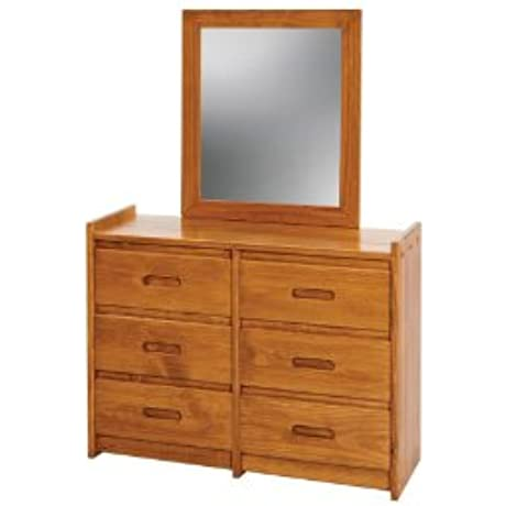 Chelsea Home Furniture 360066 011 6 Drawer Dresser With Mirror 62 H Honey
