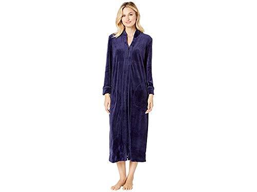 (Carole Hochman Women's Luxe Velour Long Zip Robe, Navy,)