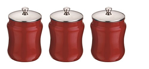Mushroom Canister Set - Kitchen Kemistry, Convex Stainless Steel with Mushroom Lid Set, 3 Pieces, Vermilion Red