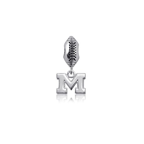 (University of Michigan Wolverines Sterling Silver Jewelry by Dayna Designs (Football Charm)