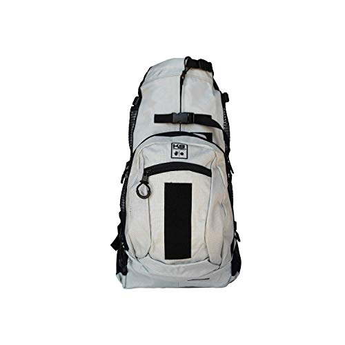 K9 Sport Sack | Dog Carrier Backpack for Small and Medium Pets | Front Facing Adjustable Pack with Storage Bag | Fully Ventilated | Veterinarian Approved (Medium, Air Plus - Light Grey)