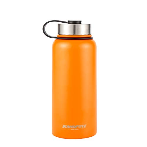KANGFUTE Insulated Sports Water Bottle – Wide Mouth 18/8 Stainless Steel – Powder Coated Water Flask, Orange, 32oz