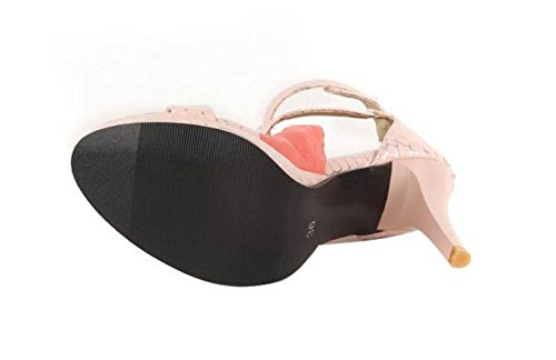 Roman Alto Bombas Patrón Mujeres Piedra Sandalias pink Peep de Tops zapatos tobillo GLTER Toe light Fine de wTIvq4w