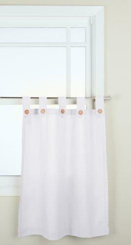gpd newport 60inch x 36 inch button tab top tier curtain pair white