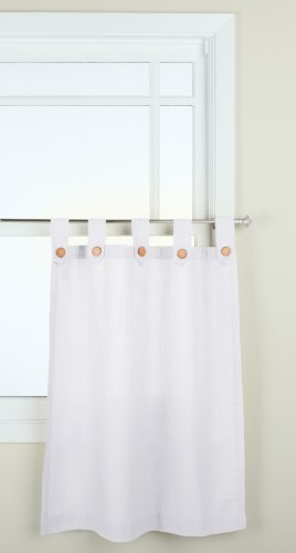 GPD Newport 60-inch x 36 inch Button Tab Top Tier Curtain Pair, White