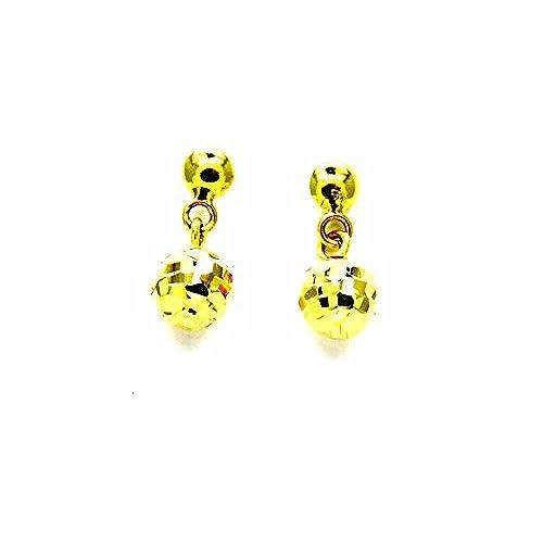 8419bdef51ef Lovely Pegaso Joyería – Pendientes oro amarillo 18 kt colgantes pequeños  con bolas ...