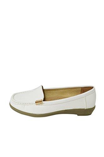 Vrouwen Zachte Kunstleer Mocassin Loafer Slip-on Schoenen (miss-06 / Vivi-03) White-vivi-03