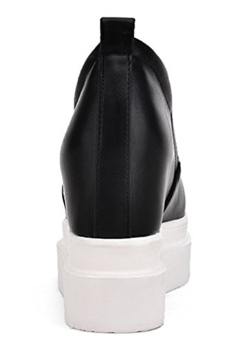 Idifu Womens Fashion Hidden Wedge High Heels Platform Sneakers Slip Loafers Schoenen Zwart