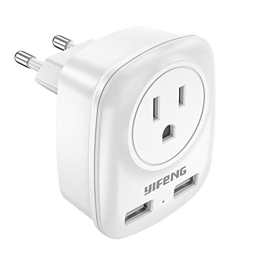 yIFeNG European Plug Adapter, International Travel Power Adapter with 2 USB, Outlet Adaptor for US to Most Europe Area…