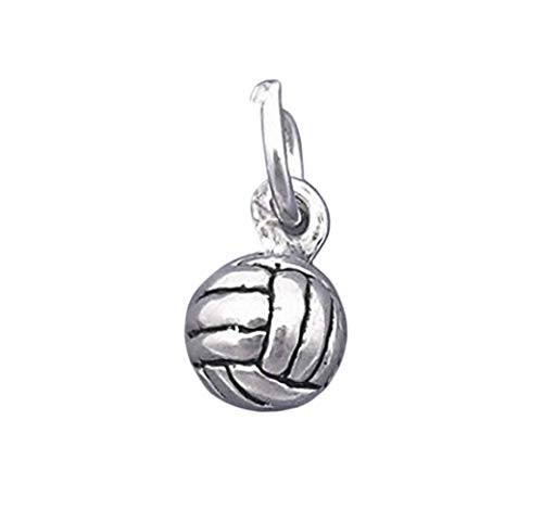 Sterling Silver 3-D Volleyball Charm Miniature Small Ball - lp3481 Jewelry Making Supply Pendant Bracelet DIY Crafting by Wholesale Charms - Sterling Silver Volleyball